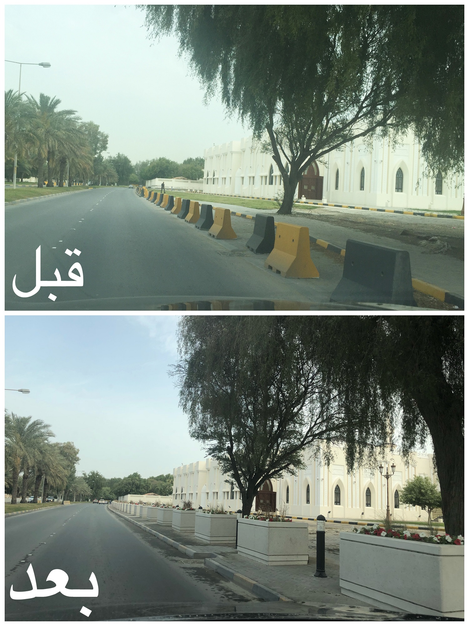 "Municipality of ""South"" replaces cement barriers with agricultural basins in Sheikh Salman Street"